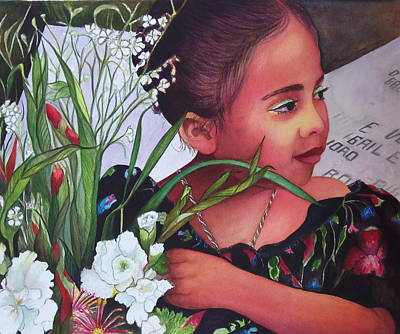 Painting - Flower Girl On Dia De Los Muertos by Susan Santiago