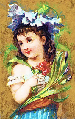 Flower Girl Print by Vintage Trading Cards