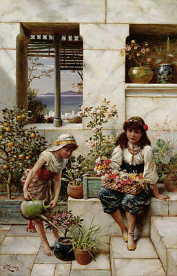 Marble Painting - Flower Girls by William Stephen Coleman