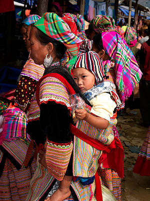 Indigenous Culture Photograph - Flower Hmong Woman Carrying Baby by Panoramic Images