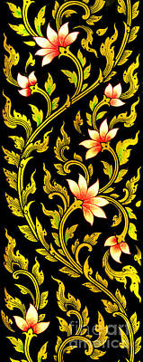 Worthy Painting - Flower Images Artistic From Thai Painting And Literature by Pakorn Kitpaiboolwat