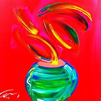 Flower In A Pot Art Print by Mac Worthington