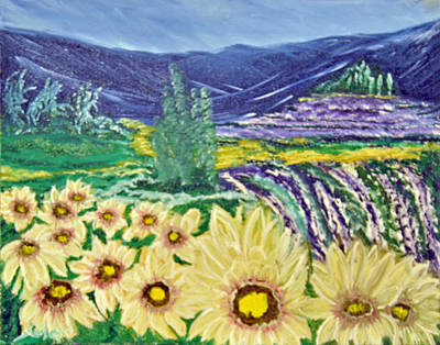 Sun Rays Painting - Flowers In August by Suzanne Surber