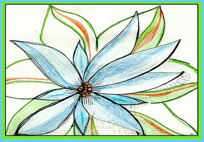 Ball Pen Drawing - Flower In Blue by Becky Sterling