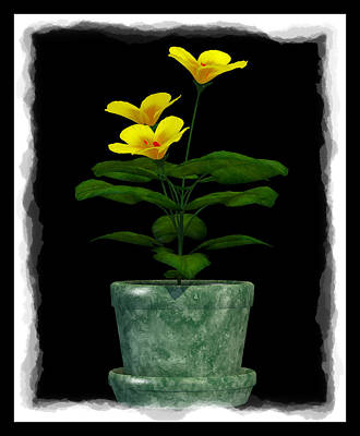 Digital Art - Flower In Green Pot... by Tim Fillingim