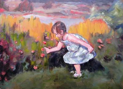 Little Girls In Garden Painting - Flower In The Field by Dorothy Siclare