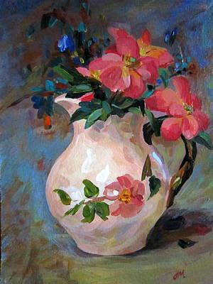 Art Print featuring the painting Flower In Vase by Jieming Wang