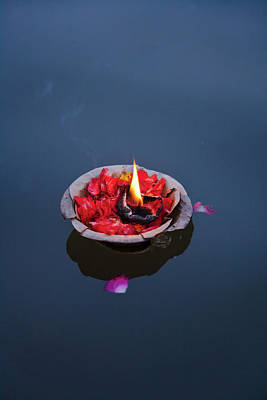 Ganges Photograph - Flower Lamp On The Ganges River by Keren Su