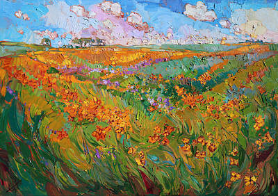 Wine Country Landscape Painting - Flower Light by Erin Hanson