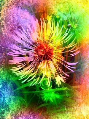 Art Print featuring the digital art Flower Light by Nico Bielow