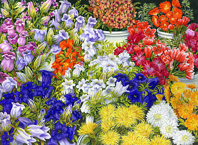 Floral Bouquet Painting - Flower Market by Karen Wright