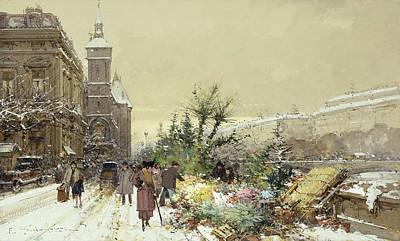 Snowy Day Painting - Flower Market Marche Aux Fleurs by Eugene Galien-Laloue