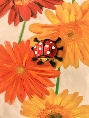 Fish-eye Look Painting - Flower Napkin With Chocolate Ladybug by Angela A Stanton