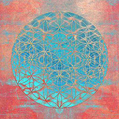 Flower Of Life Aqua Orange Art Print