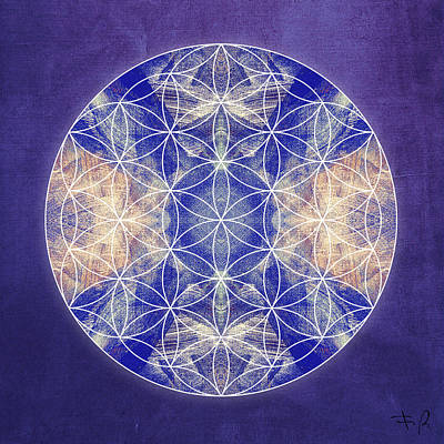 Flower Of Life Blue Art Print