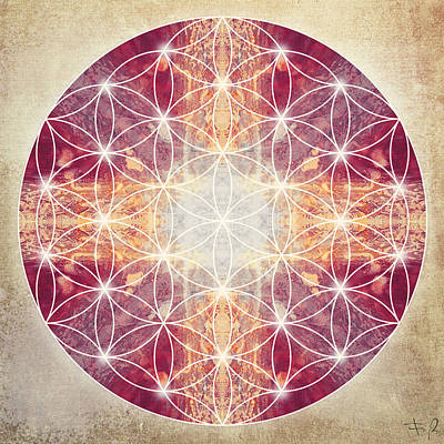 Flower Of Life Magenta Art Print