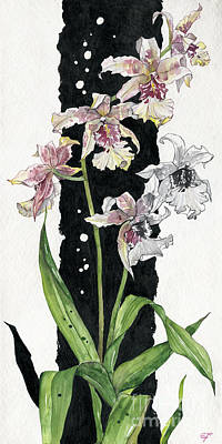 Art Print featuring the painting Flower Orchid 06 Elena Yakubovich by Elena Yakubovich