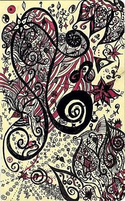 Fushia Drawing - Flower by Oriana Greene
