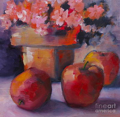 Flower Pot And Apples Art Print by Michelle Abrams