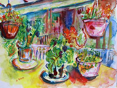 Painting - Flower Pots  by Vladimir Kezerashvili