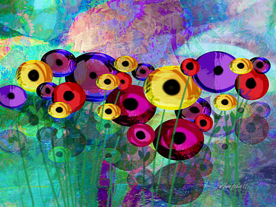 Flower Power Abstract Art  Art Print by Ann Powell