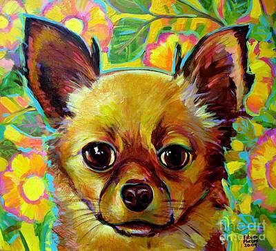 Flower Power Chihuahua Art Print by Robert Phelps