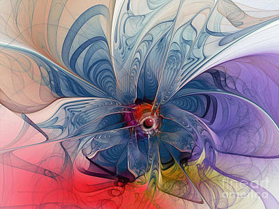Mathematical Digital Art - Flower Power-fractal Art by Karin Kuhlmann