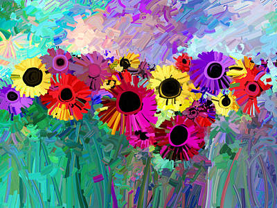 Nature Abstract Painting - Flower Power Two by Ann Powell