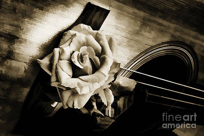Photograph - Flower Rose Bloom On Guitar Painting In Sepia 3264.01 by M K  Miller