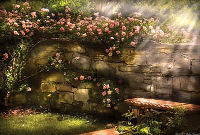 Flower - Rose - In The Rose Garden  Art Print by Mike Savad