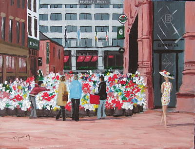 Flower Sellers Grafton Street Original by Tony Gunning