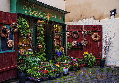 Old Prague Photograph - Flower Shop In Prague by Jenny Rainbow
