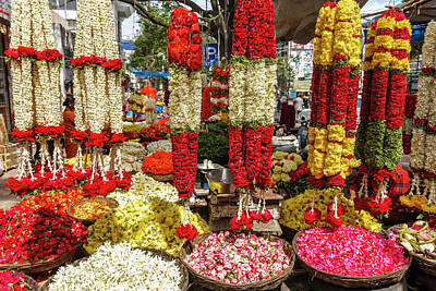 Indian Pink Photograph - Flower Shop, Southern India by Ali Kabas