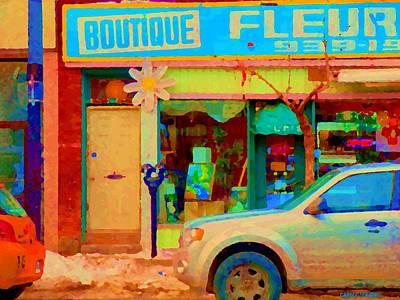 Flower Shop St Henri Boutique Fleuriste Window Notre Dame Ouest Montreal City Scene Carole Spandau Art Print by Carole Spandau