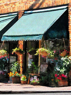 Flower Shop With Green Awnings Art Print by Susan Savad