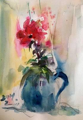 Vase Of Flowers Drawing - Flower Sketching by Farid Ahmadi