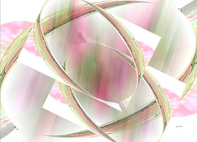Abstract Rose Oval Digital Art - Flower Sprites by Gretchen Wrede