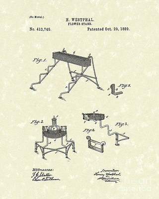 Drawing - Flower Stand 1889 Patent Art by Prior Art Design