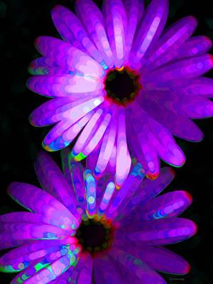 Flower Study 6 - Vibrant Purple By Sharon Cummings Art Print by Sharon Cummings
