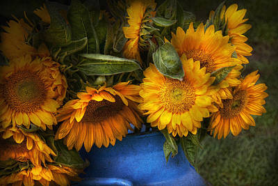 Flower - Sunflower - The Suns Have Risen  Art Print by Mike Savad
