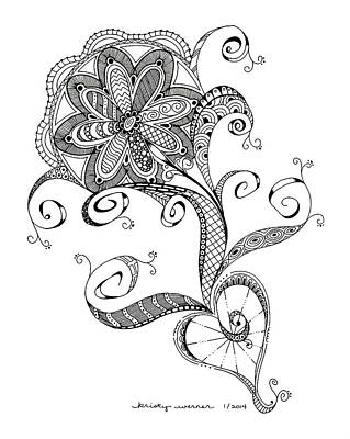 Zentangles Drawing - Flower Tangle by Kristy Werner