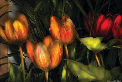 Photograph - Flower - Tulip -  Orange Irene And Red  by Mike Savad