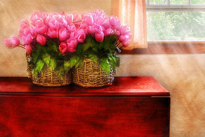 Photograph - Flower - Tulips By A Window by Mike Savad