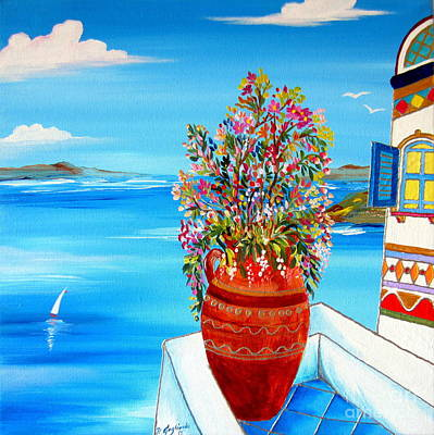 Painting - Flower Vase In Santorini by Roberto Gagliardi