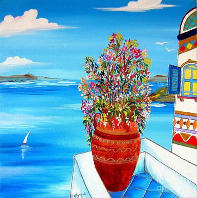 Greek Vase Painting - Flower Vase In Santorini by Roberto Gagliardi