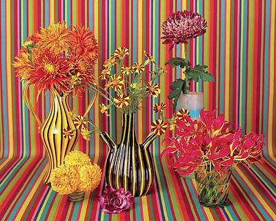 Still Life Photograph - Flower Vases Against Striped Fabric by Lisa Charles Watson