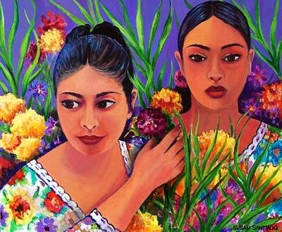 Painting - Flower Vendors - Day Of The Dead by Susan Santiago