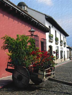 Flower Wagon Antigua Guatemala Art Print