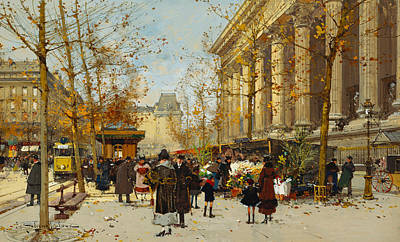 French Signs Painting - Flower Walk by Eugene Galien-Laloue