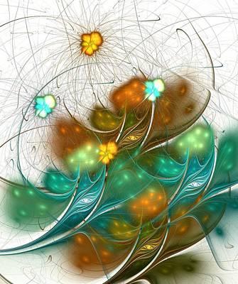 Abstract Movement Digital Art - Flower Wind by Anastasiya Malakhova